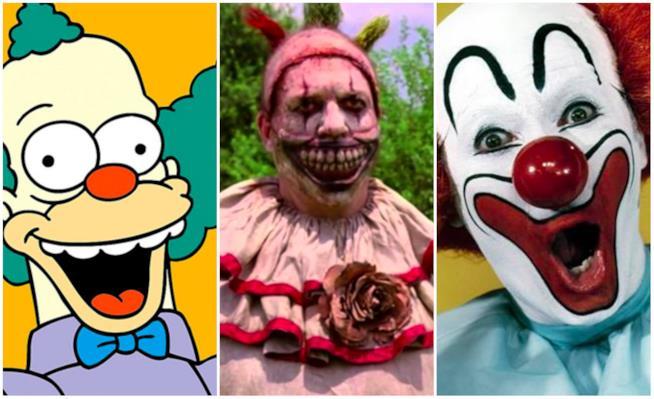 Un collage di clown in TV e al cinema