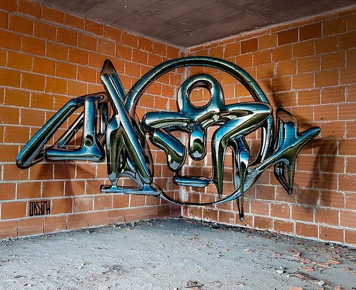 Graffti in 3D: parola disegnata tra due muri