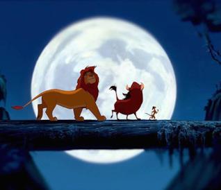 Simba, Timon e Pumba in una scena de Il Re Leone (1994)
