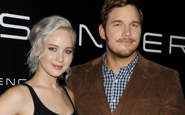 Jennifer Lawrence e Chris Pratt a una presentazione di Passengers