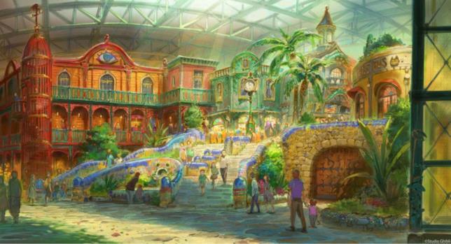 Studio Ghibli Theme Park: concept art mostra alcuni dettagli di una delle cinque aree del parco a tema