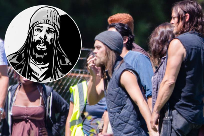 Tom Payne sul set con Norman Reedus