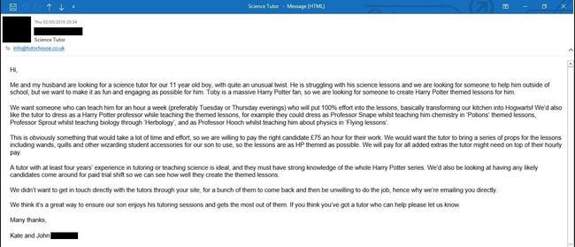L'email di una coppia inglese al sito Tutor House