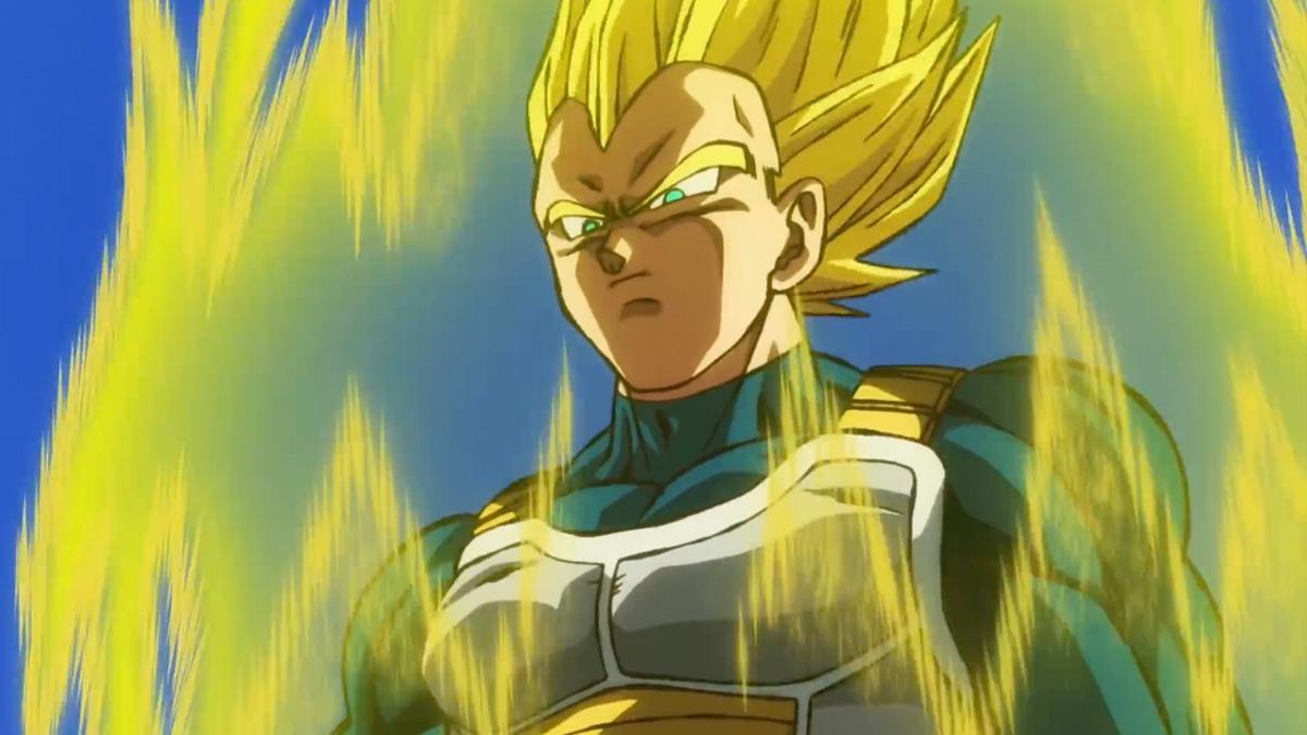 Vegeta si prepara a un nuovo scontro nella sua forma da Super Saiyan.