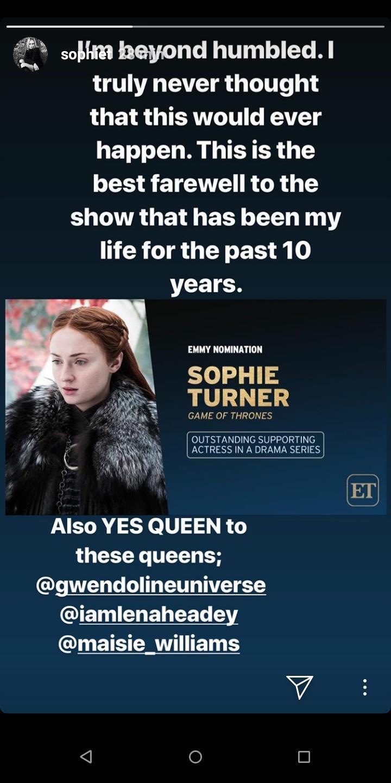 Sophie Turner è stata nominata agli Emmy