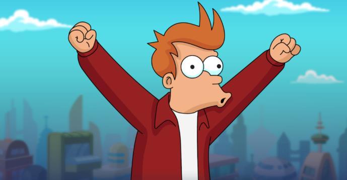 Fry esulta in Futurama: Worlds of Tomorrow