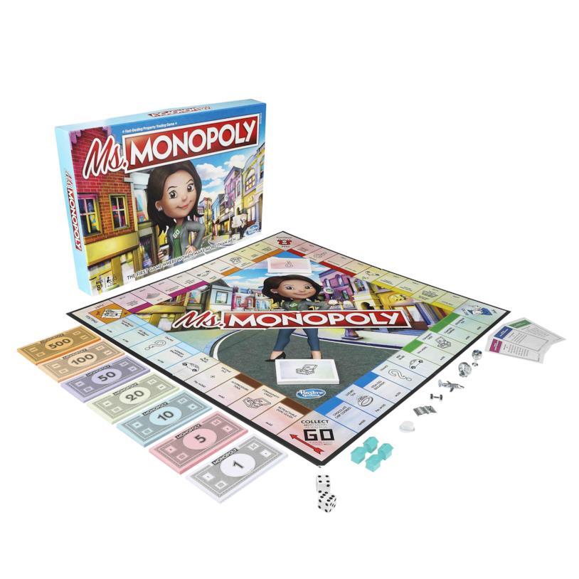 La scatola e il tabellone da gioco di Ms. Monopoly
