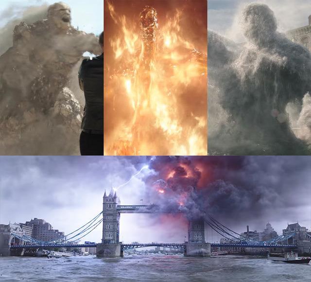 Screen del trailer di Spider-Man: Far From Home con le manifestazioni de Gli Elementali