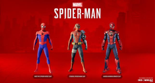 Immagine stampa con i tre nuovi costumi in arrivo su Marvel's Spider-Man per PS4