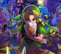 Link e altri volti della serie Zelda posano sull'artwork ufficiale di Majora's Mask 3D