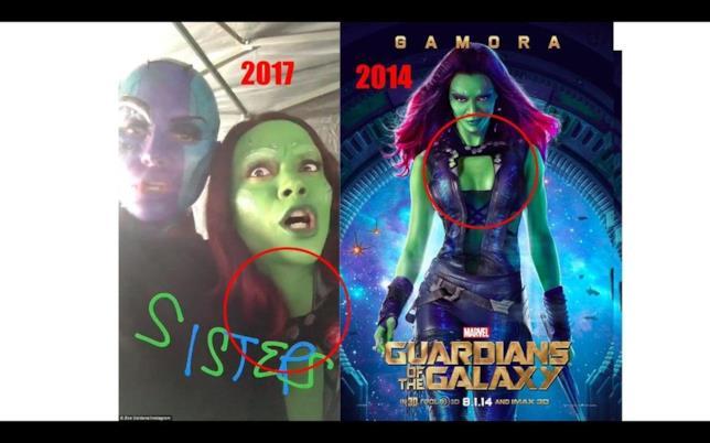 L'immagine di Nebula e Gamora che avvalorerebbe la teoria dei viaggi nel tempo