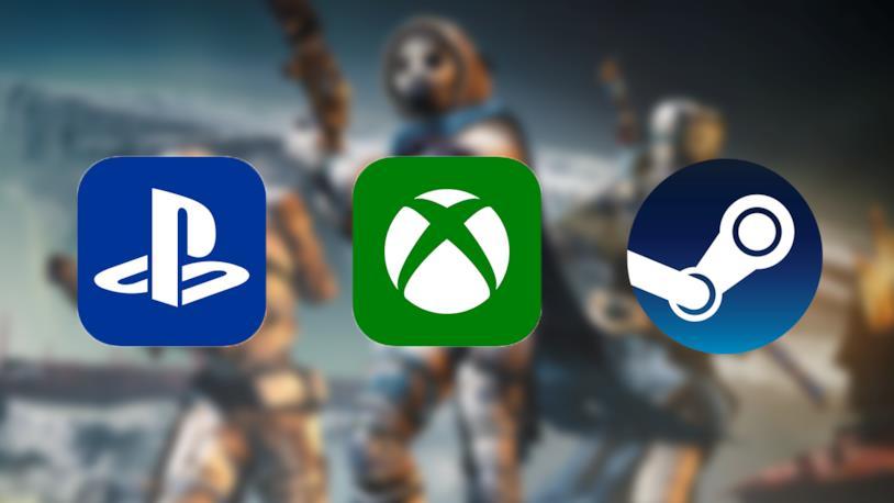 Le icone di PS4, Xbox One e Steam; sullo sfondo un'immagine promozionale di Destiny 2