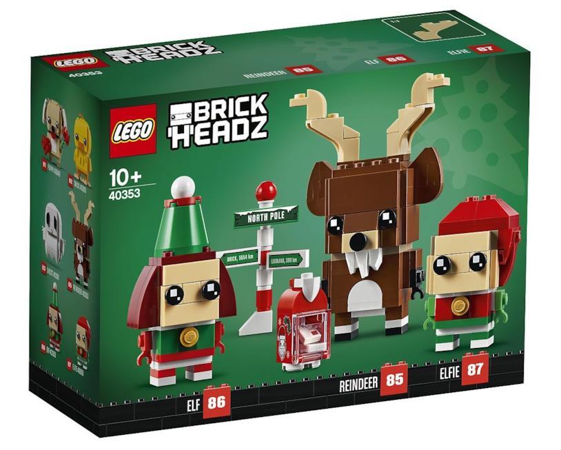 Gli elfi e la renna nel set BrickHeadz per il Natale 2019 di LEGO