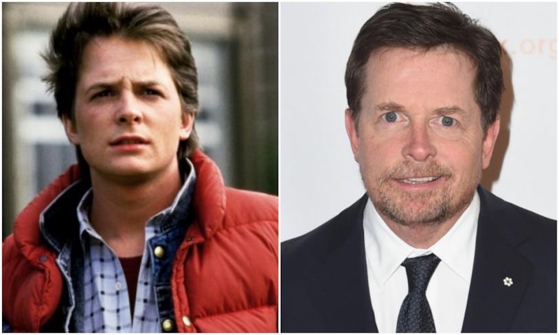 Collage tra Marty McFly e Michael J. Fox ora