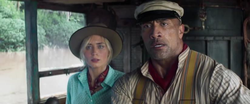 Emily Blunt e The Rock nei panni dei loro personaggi in Jungle Cruise