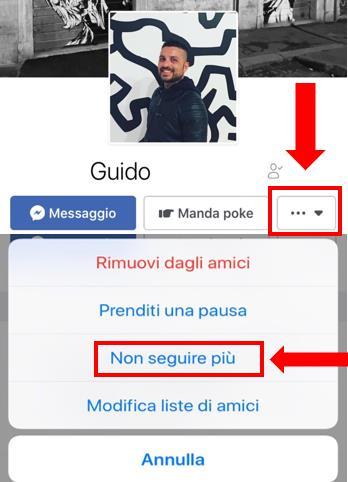 Tutorial che mostra come disattivare la funzione SEGUI di un profilo Facebook da mobile