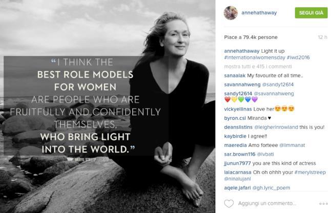 Post di Anne Hathaway su Instagram per la Festa della Donna