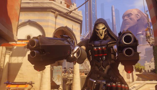 Reaper punta le sue Bocche Infernali durante uno scontro a Overwatch