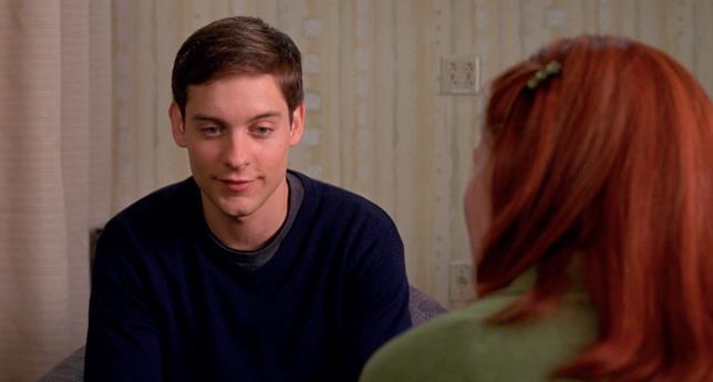 Tobey Maguire è Peter Parker nel film Spider-Man del 2002