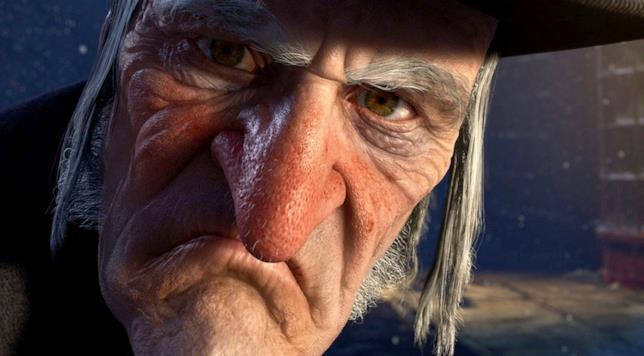 Primo piando di Jim Carrey nel ruolo di Ebenezer Scooge per il film A Christmas Carol