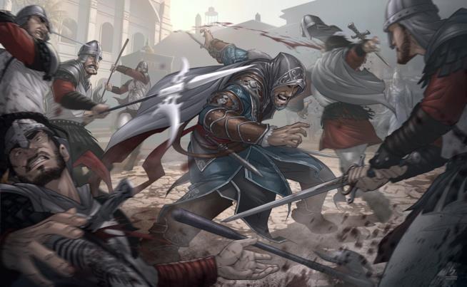 Ezio Auditore in azione nel fumetto di Assassin's Creed