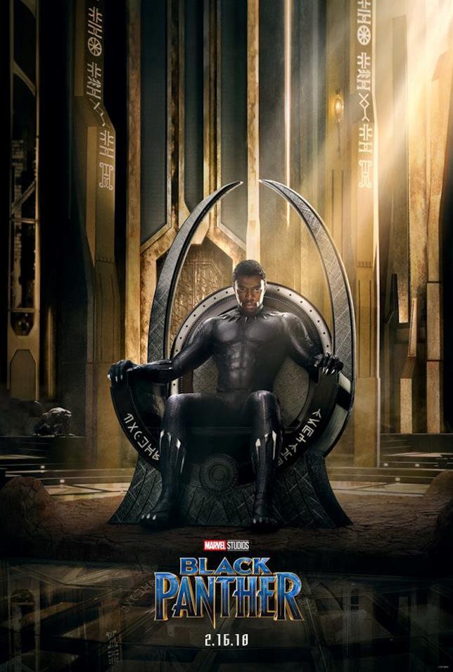 Chadwick Boseman nel poster ufficiale di Pantera nera