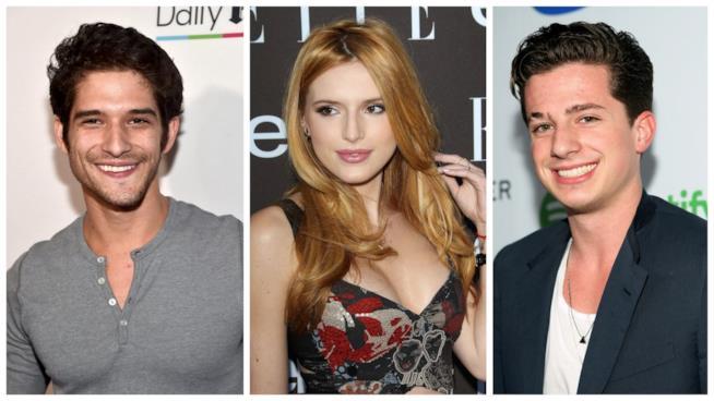 Primo piano di Bella Thorne, Charlie Puth e Tyler Posey