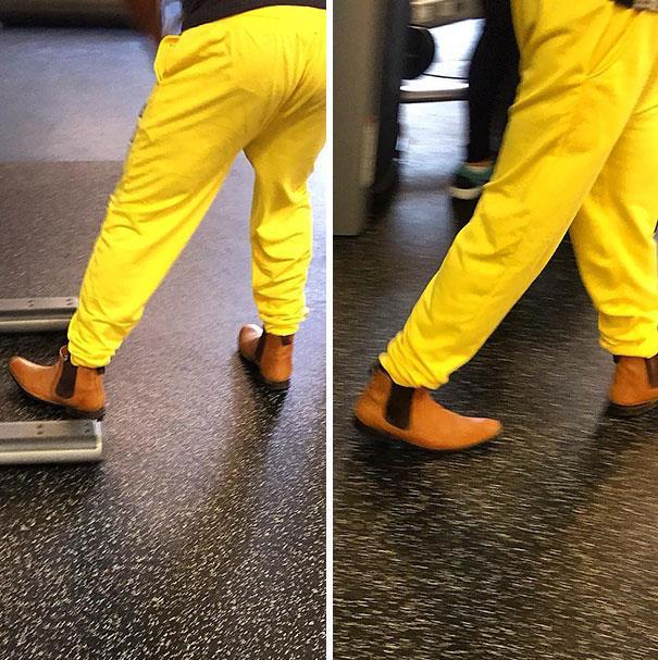 In palestra: uomo che indossa scarpe classiche