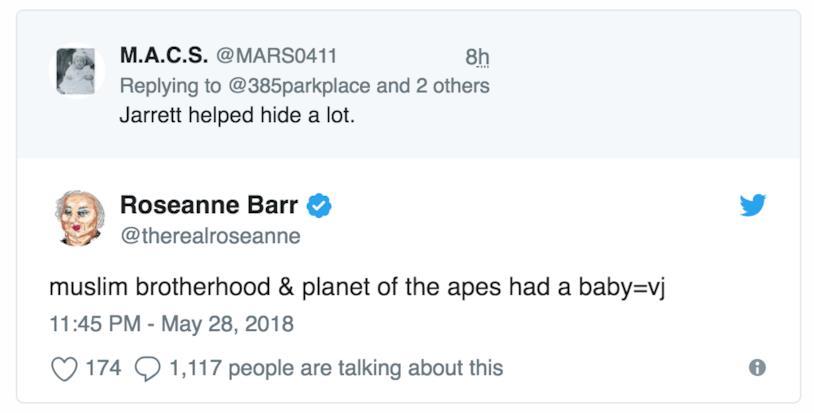 Screen del tweet di Roseanne su Valerie Jarrett