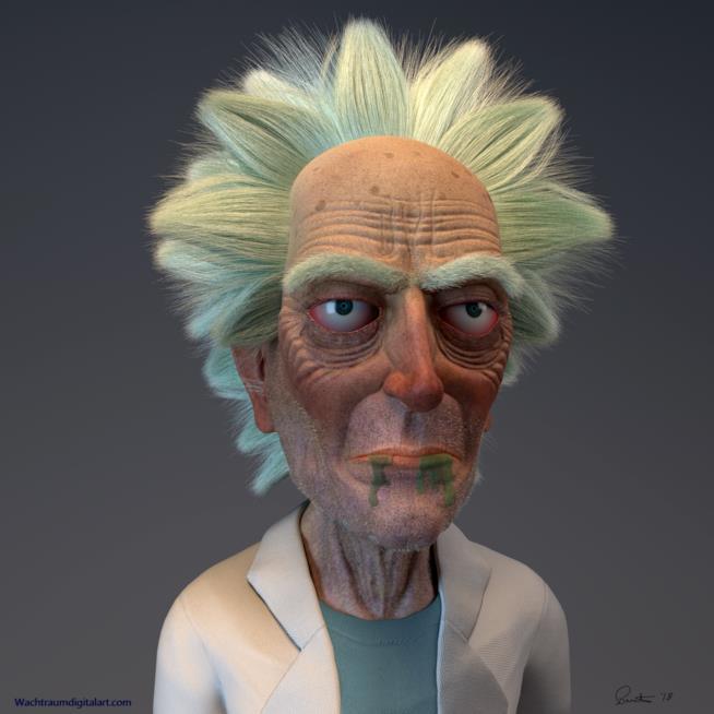 Il mezzobusto in 3D di Rick Sanchez