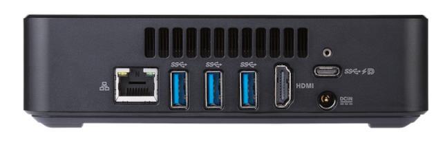 Immagine stampa che mostra le parta posteriore di ASUS Chromebox 3