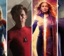 Da sinistra i supereroi: Capitan Marvel, Spider-Man, Dark Phoenix e Magneto degli X-Men