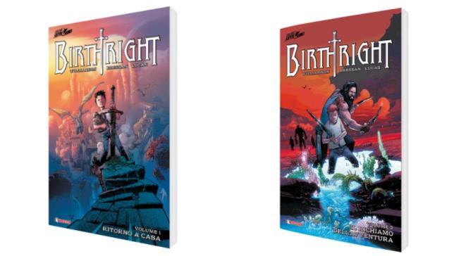 Le cover dell'edizione brussurata dei primi due volumi di Birthright