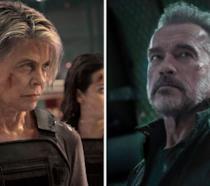 A sinistra Linda Hamilton e a destra Arnold Schwarznegger