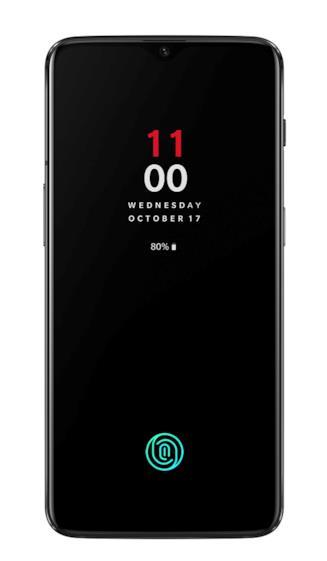Immagine stampa del nuovo OnePlus 6T che mostra il sensore biometrico integrato nel display