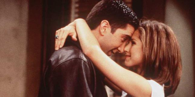 Rachel e Ross nell'episodio di Friends in cui si baciano per la prima volta