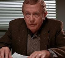 Warren Frost nei panni di Will Hayward sul set de I Segreti di Twin Peaks