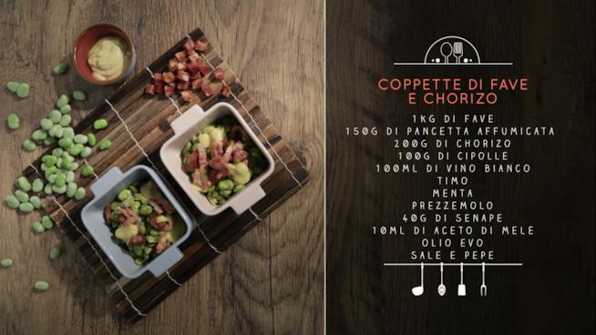 La ricetta delle coppette di fave e chorizo