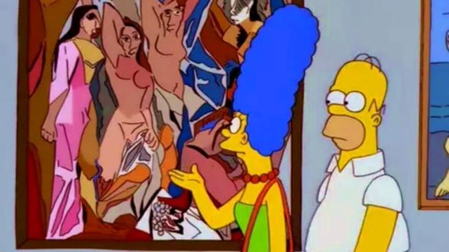 I Simpson: Marge e Homer osservano dei Picasso