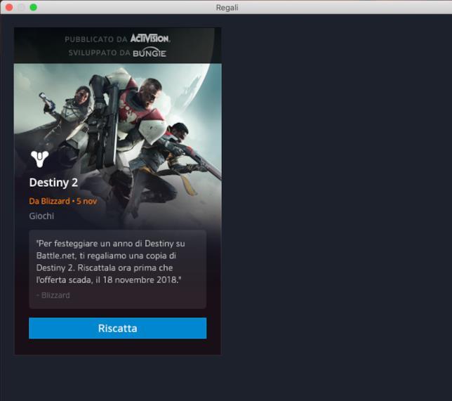 La schermata su Battle.net per scaricare Destiny 2 gratuitamente su PC