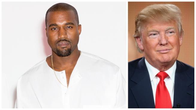 Primo piano di Kanye West e Donald Trump