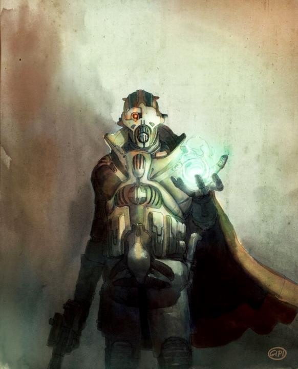 Il nemico del videogioco con una sfera luminosa in mano