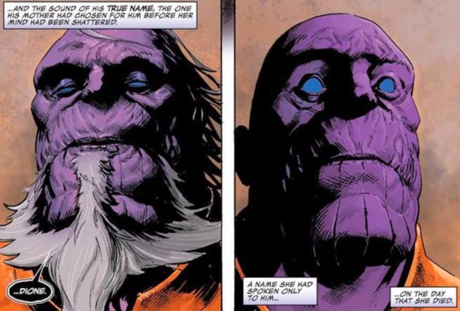 Re Thanos svela a Thanos il suo nome sulle pagine di Thanos 14