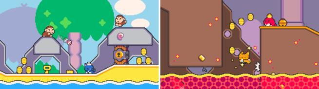 Due livelli di Super Cat Tales: in spiaggia e in un vulcano