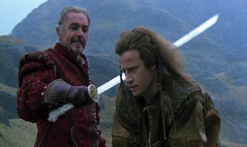 Sean Connery e Christopher Lambert si scontrano nel film Highlander - L'ultimo immortale