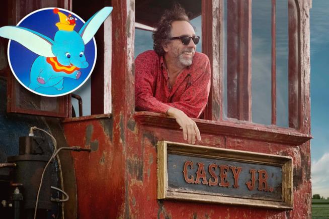 Il regista di Burton su un carro del circo sul set di Dumbo