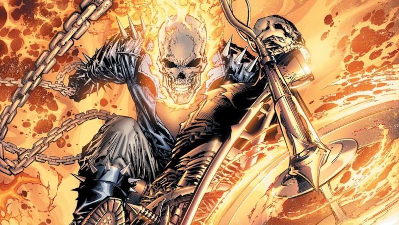 Ghost Rider avvolto tra le fiamme infernali