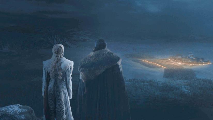 Daenerys e Jon osservano la battaglia campale di Grande Inverno