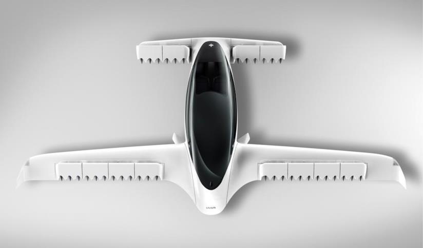 Il render del modello Lilium Jet da 5 posti testato lo scorso 5 maggio