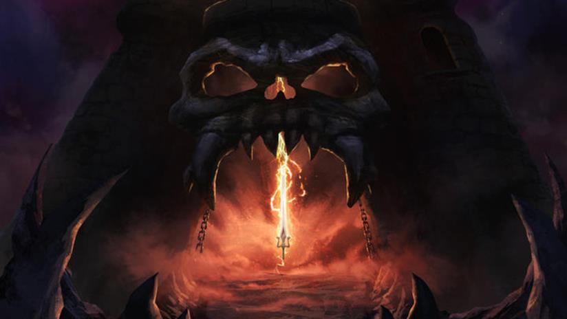 L'iconica spada di He-Man davanti l'ingresso del castello di Greyskull